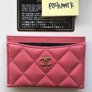 Chanel pink caviar card case holder pouch